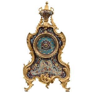 A French 19th Century Ormolu Bronze & Champlevé Enamel Regulator Mantel Clock