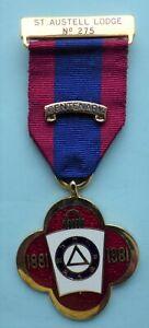 Masonic Mark Lodge Centenary Jewel St Austell Lodge No 275
