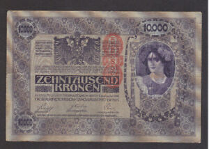 10 000 KRONEN VF OVERPRINTED PROVISIONAL BANKNOTE FROM AUSTRIA 1919  PICK-59