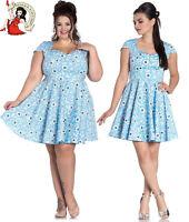 HELL BUNNY DAPHNE MINI DRESS FLORAL summer BLUE XS-4XL