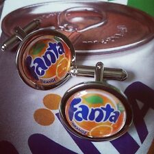 Unique! FANTA ORANGE CUFFLINKS chrome SODA fizzy RETRO pop DESIGNER novelty FAB!