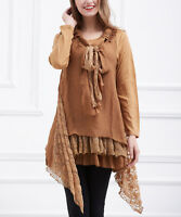 Brown Jumper Tunic Size 12 Ladies Womens Sidetail Top With Scarf Coffee Brown