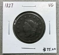 1827 MATRON HEAD or CORONET HEAD LARGE CENT ~ VERY GOOD CONDITION! C756