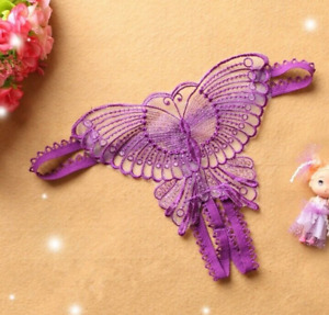 Purple Women Crotchless Panties Lace Floral Underwear Thongs Lingerie G-string