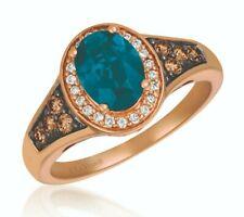 NEW Le Vian 14K Rose Gold Blue Topaz White & Chocolate Diamond Halo Ring LeVian