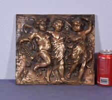 "11"" Antique Bronze Sculpture/Plaque/Wall Hanging with Three Cherubs"