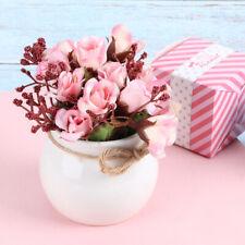 Artificial Flowers Simulation Silk Pink Rose Bouquet Bonsai with Vase Home Decor