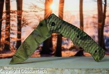Spring Assisted Forest Master Woodland Camo Tactical Knife w Belt Clip 08CA