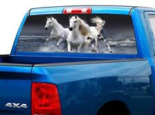 P421 White Horse Rear Window Tint Graphic Decal Wrap Back Truck Tailgate