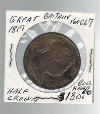 1817 Great Britain 1/2 Crown KM 667 Silver Coin Bull HEad