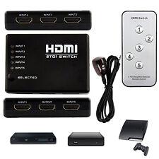 Multi HDMI Splitter Switch Selector Hub+IR Controller+Remote 5 Port Box for HDTV