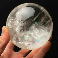 40mm Rare Clear Natural Rainbow Large Quartz Crystal Sphere Ball Healing Stone F