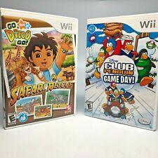 Nintendo Wii 2 Game Bundle Go Diego Safari Rescue & Disney Club Penguin Game Day