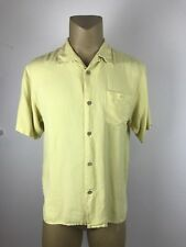 TULIO MEN'S 100% PURE SILK YELLOW LARGE BUTTON FRONT SHIRT (D)
