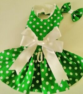 DOG DRESS HARNESS GREEN WITH WHITE DOTS NEW FREE SHIPPING