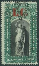 CANADA Van Dam # QL10 QUEBEC LAW $1 Green & Blk LC OVERPRNT Used SEE PHOTO S-349