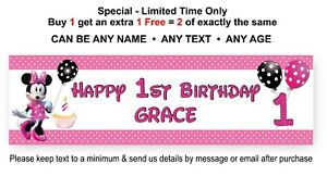 Party Banner Sign For Childs 1st Birthday - MINNIE MOUSE, Personalised Disney