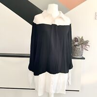 Nicole miller Artelier Top Size L Shirt  Black white | Smart CASUAL Work Office