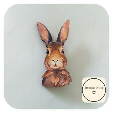 Ronnie Rabbit Brooch🐇 wooden ✨ Handmade 💕 Quirky ✨large 65mm
