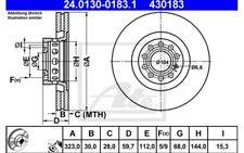 2x ATE Disques de Frein Avant Ventilé 323mm 24.0130-0183.1 pour Audi VW A8 A6