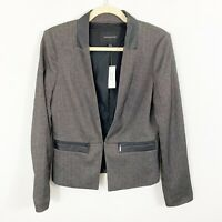 NEW Banana Republic Faux Leather Trim Blazer Size 6 Herringbone Black Gray Work