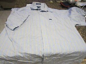 Hathaway Button Down Shirt - Lt Blue/Yellow - XL - Short Sleeves