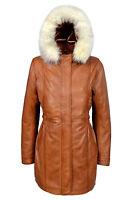 Angel Ladies Tan Trench Mid Length Fur Hooded Designer Soft Leather Jacket Coat