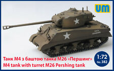 PLASTIC MODEL KIT M4 TANK WITH TURRET M26 PERSHING TANK 1/72 UNIMODEL UM 382