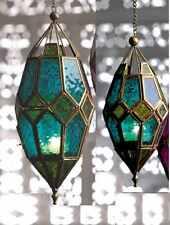 MOROCCAN COLOURED LANTERN TEA LIGHT TEALIGHT HOLDER HANGING HOME GARDEN GIFT NEW