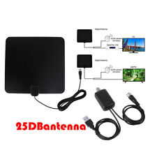 100 Mile Range Thin Flat Indoor Amplified Antenna HD High Def TV Fox Scout HDTV