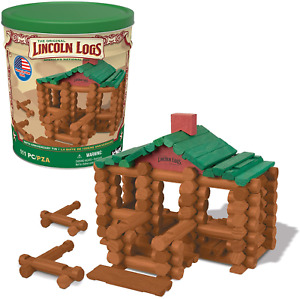 Lincoln Logs –100th Anniversary Tin-111 Pieces-Real Wood Logs-Ages 3+ - Best Ret