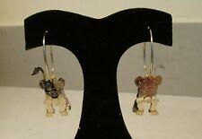 Vintage 90's Disney 3d Gold Tone Simba The Lion King Hoop Dangle Earrings EUC