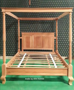Super King 6' contemporary minimalist four poster mahogany canopy bed himmelbett