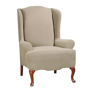 Sure Fit Stretch Morgan 1-Piece -  WING  Slipcover - taupe