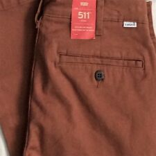 Levi's Men's New 511 0020 29x32 Rich Brown Stretch Chinos/Pants Slim Hip - Ankle