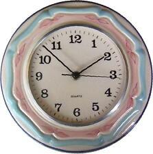 114899 Artline Keramik Küchenuhr rund beige-pink-türkis handbemalt Quarzuhr Glas