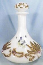Victorian Milk Glass Cologne Perfume Bottle Blue Flowers Hand Paint Antique # 4
