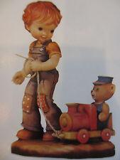 """New Anri Sarah Kay """"All Aboard"""" 4"""" #653069 Le 4000 Wood Carved Kh"""