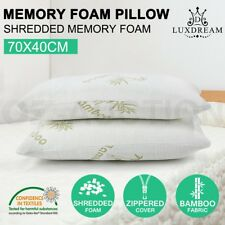 2x Memory Foam Pillow Bamboo Fabric Cover Shredded Soft Home Hotel 70x 40CM