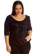 Womens Top Ladies Plus Size Polka Dot Foil Glitter Shirt Smock Tunic Nouvelle Size 18 Black