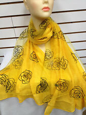 DOUBLE LAYER ROSE PATTERN LIGHT WEIGHT LACE CHIFFON SCARF COLOR YELLOW