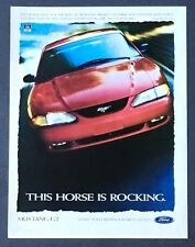 1997 Ford Mustang GT Advertisement Horse Is Rocking Photo Red Car Photo Print AD
