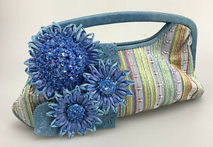 Isabella Fiore Mini Bag Evening Bag Floral Clutch Floral Straw Leather Blue