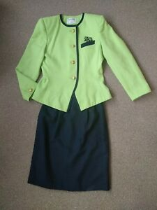 KASPER SZ 8 NAVY LIGHT GREEN LINED POLYESTER VISCOSE PARTY JACKET AND SKIRT SUIT