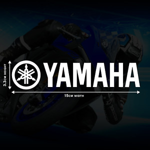 2 x Yamaha Decal Stickers in White Gloss - 15cm x 3.3cm