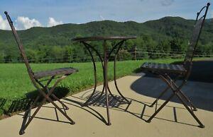 3 Piece Bistro Table Set Metal Folding Patio Bistro Set -Indoor/Outdoor -EUC