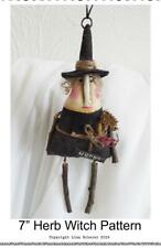 Primitive Halloween Folk Art Witch Ornament Doll Grunge Country Pattern