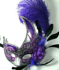 FEATHER MASQUERADE BALL PARTY Mardi Gras MASK PURPLE/SILVER