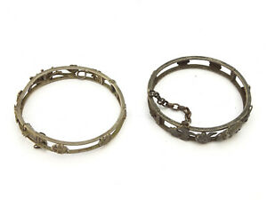 Pair Antique Chinese Sterling Silver Clasp Bracelets - Lot 8