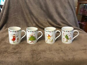NWOB Department 56 2001 Patience Brewster Christmas Krinkles Mugs Cups Set of 4